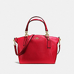SMALL KELSEY SATCHEL IN PEBBLE LEATHER - f36675 - LIGHT GOLD/TRUE RED