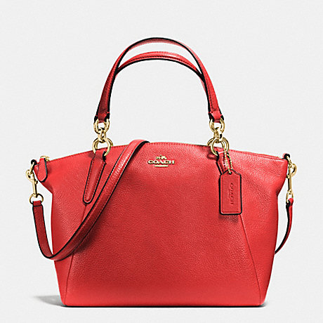 COACH f36675 SMALL KELSEY SATCHEL IN PEBBLE LEATHER IMITATION GOLD/CARMINE