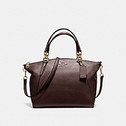 SMALL KELSEY SATCHEL IN PEBBLE LEATHER - f36675 - LIGHT GOLD/OXBLOOD 1