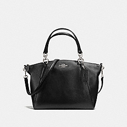 SMALL KELSEY SATCHEL IN PEBBLE LEATHER - f36675 - SILVER/BLACK
