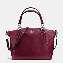 COACH F36675 Small Kelsey Satchel In Pebble Leather SILVER/BURGUNDY