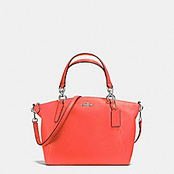SMALL KELSEY SATCHEL IN PEBBLE LEATHER - f36675 - SILVER/BRIGHT ORANGE
