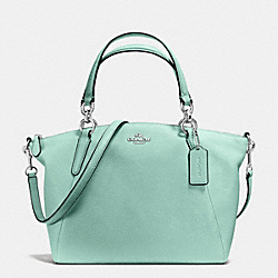 SMALL KELSEY SATCHEL IN PEBBLE LEATHER - f36675 - SILVER/SEAGLASS
