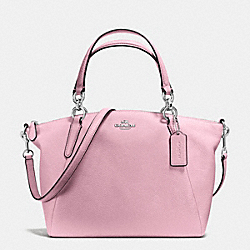 SMALL KELSEY SATCHEL IN PEBBLE LEATHER - f36675 - SILVER/PETAL