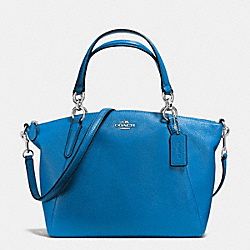 SMALL KELSEY SATCHEL IN PEBBLE LEATHER - f36675 - SILVER/LAPIS