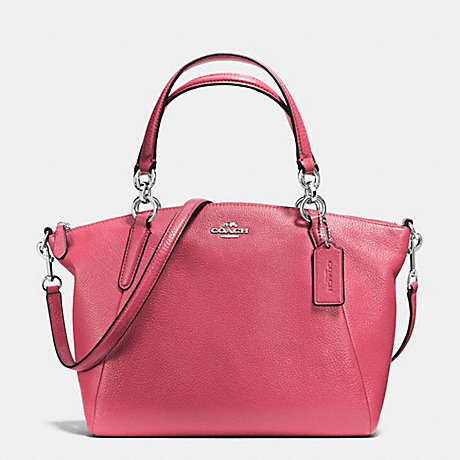 COACH f36675 SMALL KELSEY SATCHEL IN PEBBLE LEATHER SILVER/STRAWBERRY