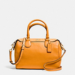 COACH F36677 Mini Bennett Satchel In Pebble Leather IMITATION GOLD/ORANGE PEEL