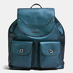 COACH F36683 Mickie Backpack In Grain Leather ANTIQUE NICKEL/METALLIC BLUE