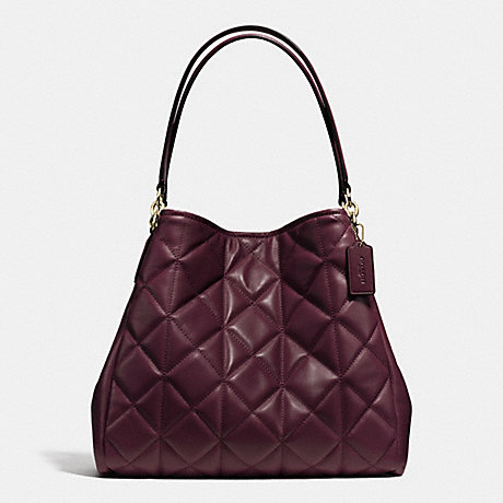 Coach F36696 Phoebe Shoulder Bag In Quilted Leather Imitation Gold Oxblood 1