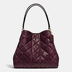 COACH F36696 Phoebe Shoulder Bag In Quilted Leather IMITATION GOLD/OXBLOOD 1