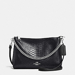 COACH F36699 - CARRIE CROSSBODY IN METALLIC SNAKE EMBOSSED LEATHER SILVER/GUNMETAL