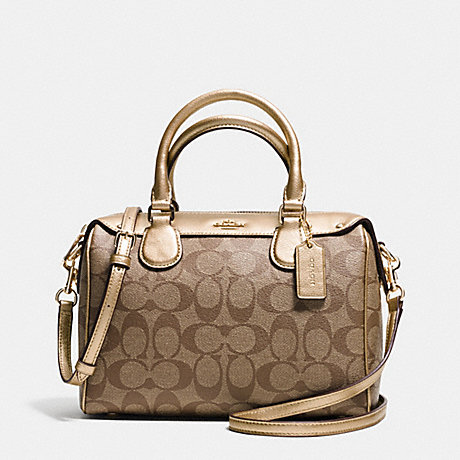COACH f36702 MINI BENNETT SATCHEL IN SIGNATURE IMITATION GOLD/KHAKI/GOLD