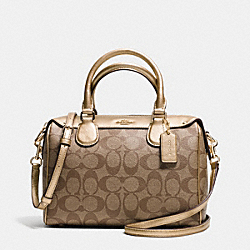 COACH F36702 - MINI BENNETT SATCHEL IN SIGNATURE IMITATION GOLD/KHAKI/GOLD