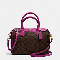 COACH F36702 Mini Bennett Satchel In Signature IMITATION GOLD/BROWN/FUCHSIA