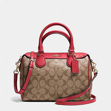 COACH f36702 MINI BENNETT SATCHEL IN SIGNATURE IMITATION GOLD/KHAKI/CLASSIC RED