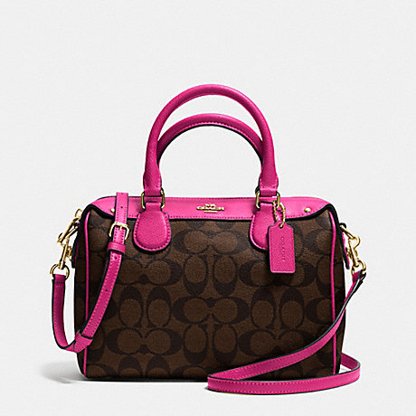 COACH f36702 MINI BENNETT SATCHEL IN SIGNATURE IMITATION GOLD/BROWN/PINK RUBY