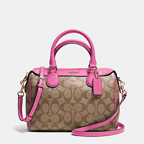 COACH f36702 MINI BENNETT SATCHEL IN SIGNATURE  IMITATION GOLD/KHAKI/DAHLIA