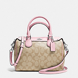 COACH F36702 Mini Bennett Satchel In Signature SILVER/LIGHT KHAKI/PETAL