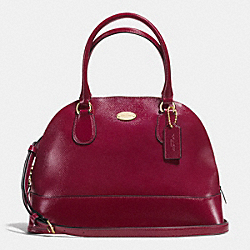 COACH F36703 Cora Domed Satchel In Patent Crossgrain Leather IMITATION GOLD/SHERRY