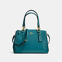 COACH F36704 - MINI CHRISTIE CARRYALL IN CROSSGRAIN LEATHER IMITATION GOLD/ATLANTIC