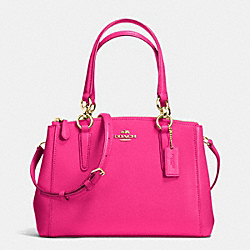 COACH F36704 - MINI CHRISTIE CARRYALL IN CROSSGRAIN LEATHER IMITATION GOLD/PINK RUBY