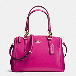 COACH F36704 - MINI CHRISTIE CARRYALL IN CROSSGRAIN LEATHER IMITATION GOLD/CRANBERRY