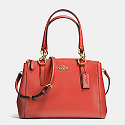 COACH F36704 Mini Christie Carryall In Crossgrain Leather IMITATION GOLD/CARMINE