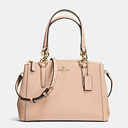 COACH F36704 - MINI CHRISTIE CARRYALL IN CROSSGRAIN LEATHER IMITATION GOLD/BEECHWOOD