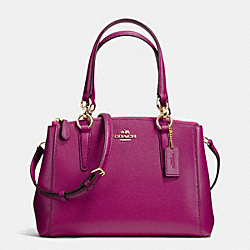 COACH F36704 - MINI CHRISTIE CARRYALL IN CROSSGRAIN LEATHER IMITATION GOLD/FUCHSIA