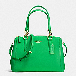 COACH F36704 - MINI CHRISTIE CARRYALL IN CROSSGRAIN LEATHER IMITATION GOLD/KELLY GREEN