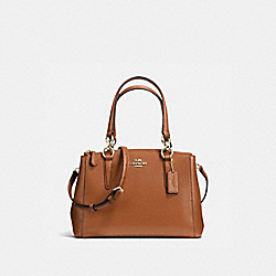 COACH F36704 - MINI CHRISTIE CARRYALL IN CROSSGRAIN LEATHER IMITATION GOLD/SADDLE