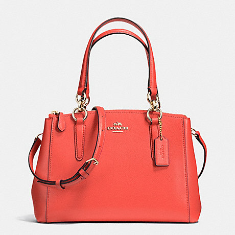 ca38b05b8c048 COACH f36704 MINI CHRISTIE CARRYALL IN CROSSGRAIN LEATHER IMITATION GOLD  WATERMELON