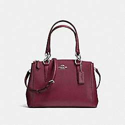 COACH F36704 - MINI CHRISTIE CARRYALL IN CROSSGRAIN LEATHER SILVER/BURGUNDY