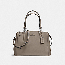 MINI CHRISTIE CARRYALL IN CROSSGRAIN LEATHER - f36704 - SILVER/FOG