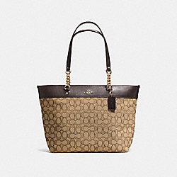 SOPHIA TOTE IN SIGNATURE JACQUARD - f36708 - LIGHT GOLD/KHAKI