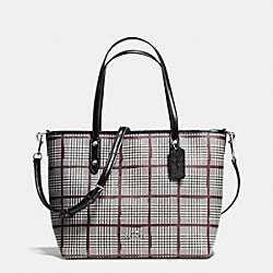 COACH F36710 - SMALL METRO TOTE IN GLEN PLAID COATED CANVAS SILVER/BLACK