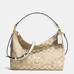 SMALL CELESTE SHOULDER BAG IN SIGNATURE - f36716 - IMITATION GOLD/LIGHT KHAKI/CHALK