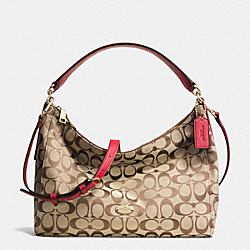 COACH F36716 East West Celeste Shoulder Bag In Signature IMITATION GOLD/KHAKI/CLASSIC RED