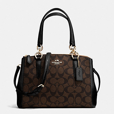 COACH F36718 MINI CHRISTIE CARRYALL IN SIGNATURE IMITATION-GOLD/BROWN/BLACK
