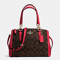 MINI CHRISTIE CARRYALL IN SIGNATURE - f36718 - IMITATION GOLD/BROW TRUE RED