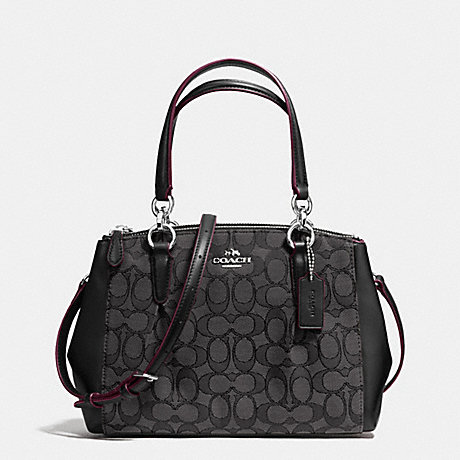 COACH f36719 MINI CHRISTIE CARRYALL WITH PLEATS IN SIGNATURE SILVER BLACK  SMOKE BLACK 61f266ac92d0a