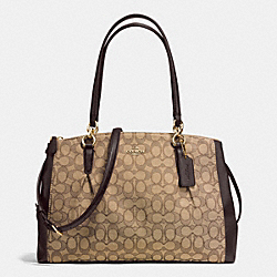 COACH F36720 - CHRISTIE CARRYALL WITH PLEATS IN SIGNATURE IMITATION GOLD/KHAKI/BROWN