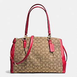 CHRISTIE CARRYALL WITH PLEATS IN OUTLINE SIGNATURE - f36720 - IMITATION GOLD/KHAKI/CLASSIC RED