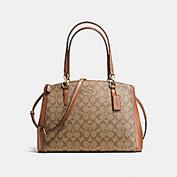 COACH F36721 - CHRISTIE CARRYALL IN SIGNATURE IMITATION GOLD/KHAKI/SADDLE