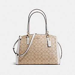 COACH F36721 Christie Carryall In Signature IMITATION GOLD/LIGHT KHAKI/CHALK
