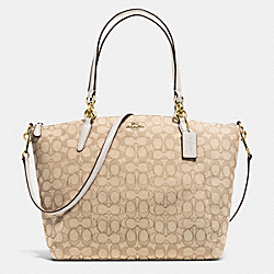 KELSEY SATCHEL IN SIGNATURE - f36722 - IMITATION GOLD/LIGHT KHAKI/CHALK