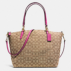 KELSEY SATCHEL IN SIGNATURE - f36722 - IMITATION GOLD/KHAKI/DAHLIA
