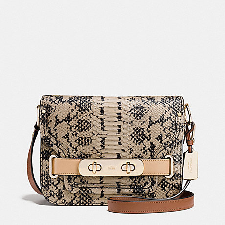COACH f36736 COACH SMALL SWAGGER SHOULDER BAG IN COLORBLOCK EXOTIC EMBOSSED LEATHER LIGHT GOLD/BEECHWOOD