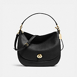 TURNLOCK HOBO IN PEBBLE LEATHER - f36762 - LIGHT GOLD/BLACK
