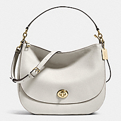 TURNLOCK HOBO IN PEBBLE LEATHER - f36762 - LIGHT GOLD/CHALK